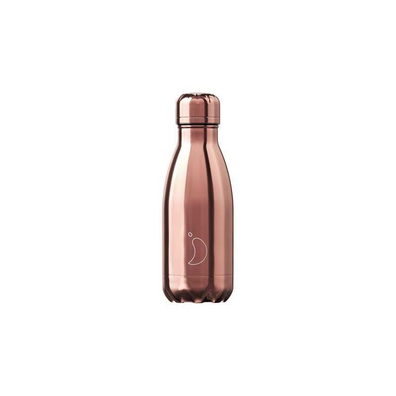 Botella De Acero Térmica Cromado Oro Rosa