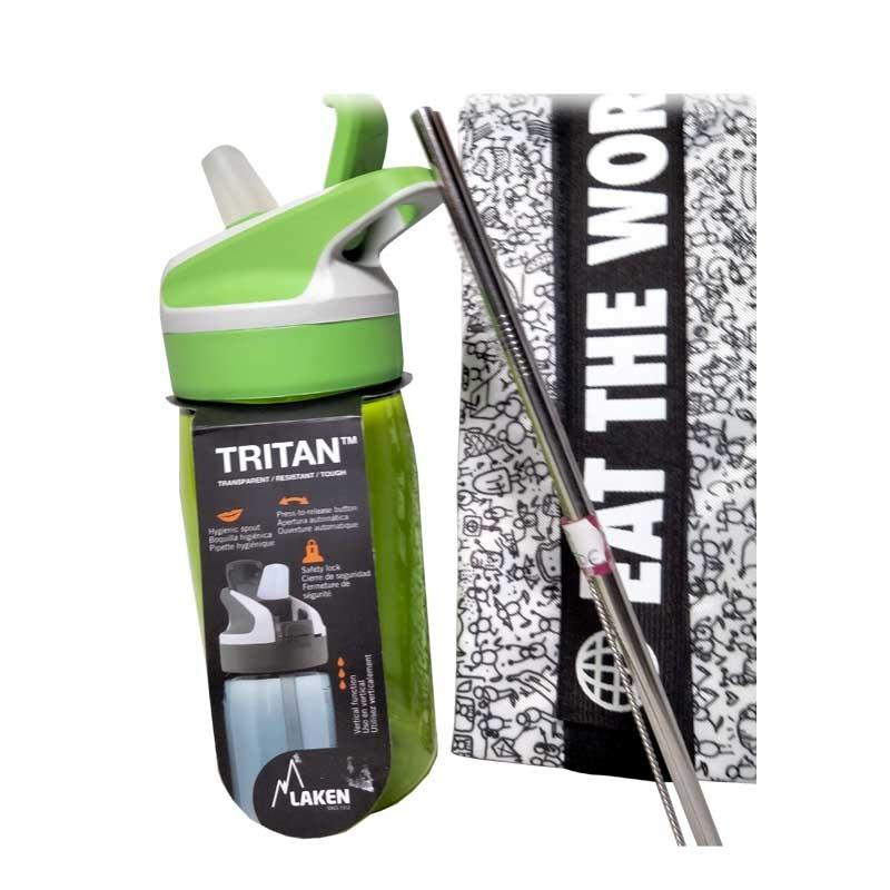 Kit Infantil  (Botella de Tritán Laken, Portabocatas Duett, 2 Pajitas de acero rectas)