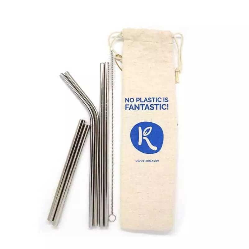 Pack 6 Pajitas Reutilizables de Acero Inoxidable con Limpiador